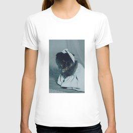 Muad'Dib Cat Portrait in Blue Denim T-shirt