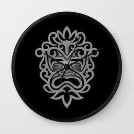 Stylish Gray and Black Mayan Mask Wall Clock