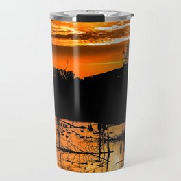 Silhouetted Canadian Geese taking a break in a pond in Ann Arbor, Michigan Travel Mug
