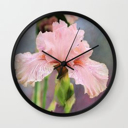 Lovely Pink Iris Wall Clock
