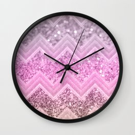 Unicorn Glitter Chevron #2 #shiny #decor #art #society6 Wall Clock
