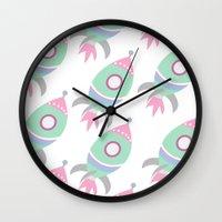 spaceship Wall Clocks featuring Spaceship by Kristina Loren