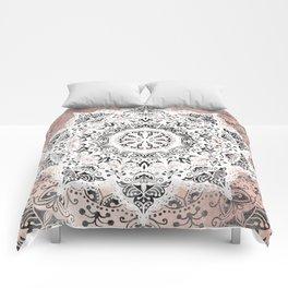 Dreamer Mandala White On Rose Gold Comforters