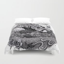 Land of the Sleeping Giant (ink drawing) Duvet Cover