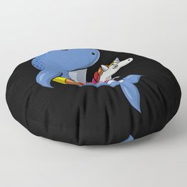 Narwhal Fish Riding Unicorn Float Funny Pool Party Floor Pillow