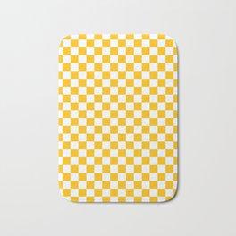 White and Amber Orange Checkerboard Bath Mat
