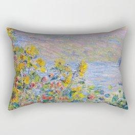 1881 Claude Monet Flower Beds At Vétheuil Rectangular Pillow