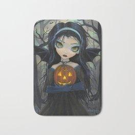 October Woods Cute Vampire holding Pumpkin Gothic Big Eye Art Bath Mat