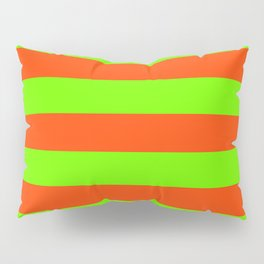Bright Neon Green and Orange Horizontal Cabana Tent Stripes Pillow Sham