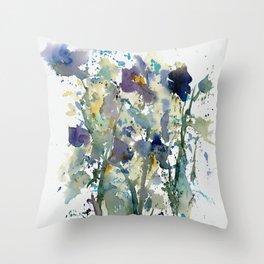 Iris Garden watercolor painting Throw Pillow