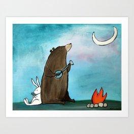 Campfire Bear Art Print