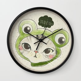 Froggie Kittie Cat Wall Clock