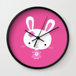 Cute Pink Kawaii Bunny on Pink Background Wall Clock