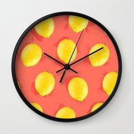 Watercolor Lemons Wall Clock
