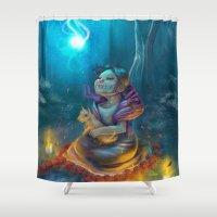 return Shower Curtains featuring Return by El Zapata