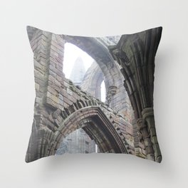 Whitby Abbey in Fog #2 Throw Pillow