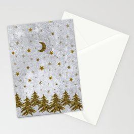 Sparkly Christmas tree, stars, moons on abstract paper Stationery Cards