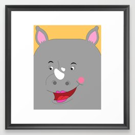 Rhino Female in Love Looking to the Left Framed Art Print