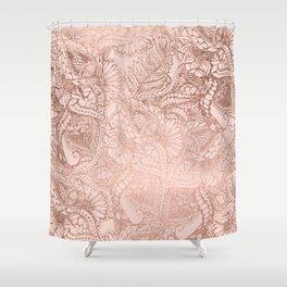 Modern rose gold floral illustration on blush pink Shower Curtain