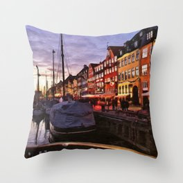 Digital Painting of Copenhagen's Nyhavn at Night Just after Sunset Throw Pillow
