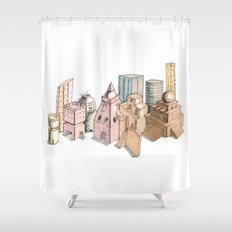 the city painted in pastel colours Shower Curtain