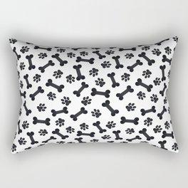 Black Bones and Paws Rectangular Pillow