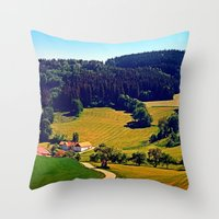hiking Throw Pillows featuring Hiking through springtime scenery by Patrick Jobst