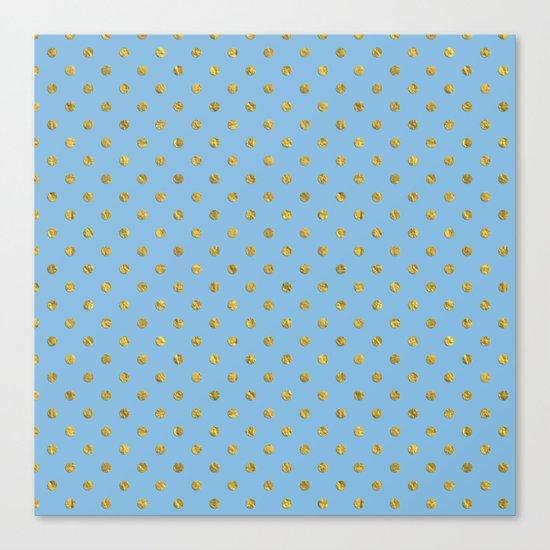Gold polkadots on sky blue background Canvas Print