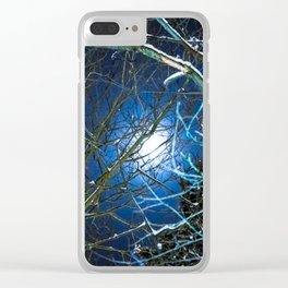 Blue Snow Moon Glow Clear iPhone Case