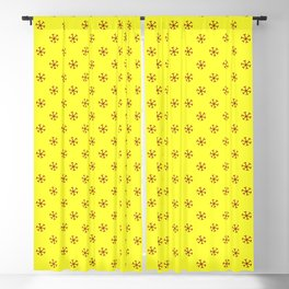 Burgundy Red on Electric Yellow Snowflakes Blackout Curtain