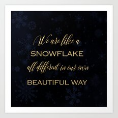 We are like a snowflake - gold glitter Typography on dark backround Art Print