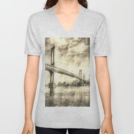 Manhattan Bridge New York Vintage Unisex V-Neck