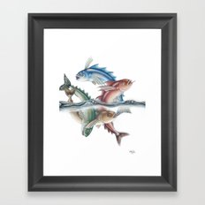 INKYFISH - Jumping Fish Framed Art Print