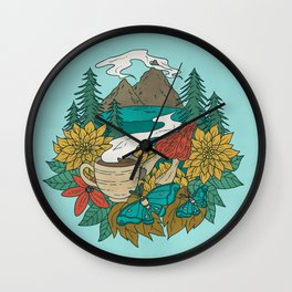 Pacific Northwest Coffee and Nature Wall Clock