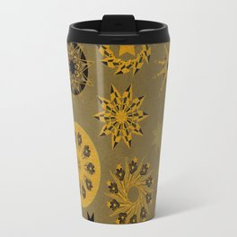 gold cristals xmas vintage pattern Travel Mug