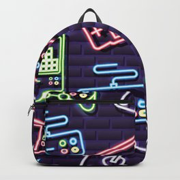 Neon Video Game Accessories Pattern Backpack