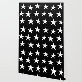 Star Pattern White On Black Wallpaper
