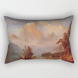 Rocky Mountains 1866 By Albert Bierstadt | Reproduction Painting Rectangular Pillow