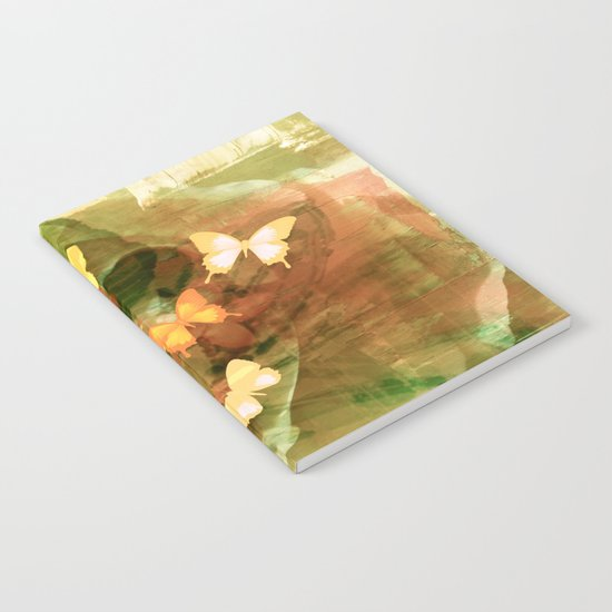 Vintage Autumn Painterly Butterflies  Notebook