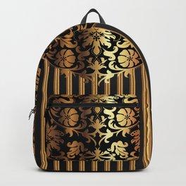 Gold and Black Damask and Stripe Design Backpack