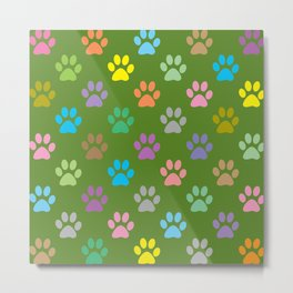 Colorful paws pattern Metal Print