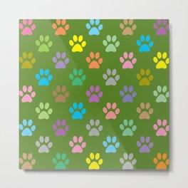 Colorful paws pattern Metal Print