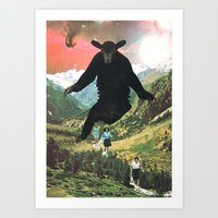 The Hills Are Alive, vintage collage Art Print