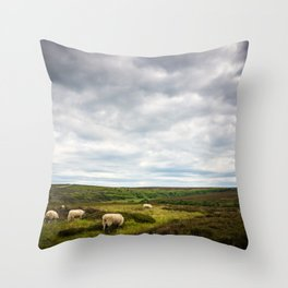 Sheep grazing in North Yorkshire Throw Pillow