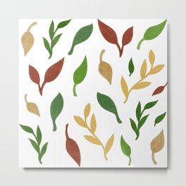 Leaf seamless pattern on white background Metal Print