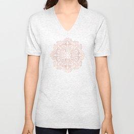Mandala Rose Gold Pink Shimmer on Soft Gray by Nature Magick Unisex V-Neck