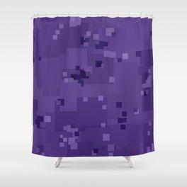 Gentian Violet Square Pixel Color Accent Shower Curtain