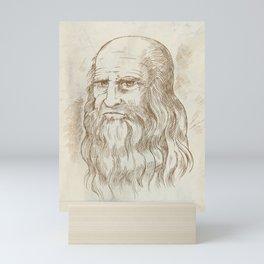 Hand drawn vector portrait. Leonardo Da Vinci Mini Art Print