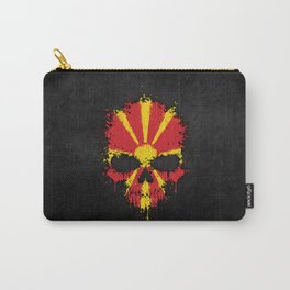 Flag of Macedonia on a Chaotic Splatter Skull Carry-All Pouch