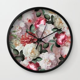 Vintage & Shabby Chic - Jan Davidsz. de Heem Roses On Mauve Wall Clock